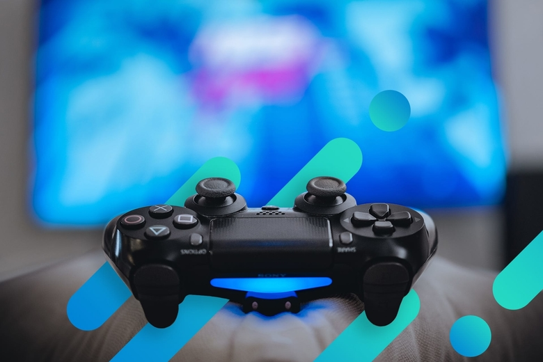 Game controller on abstract background