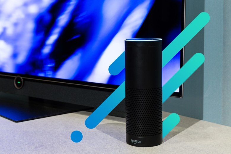 Alexa device on an abstract background