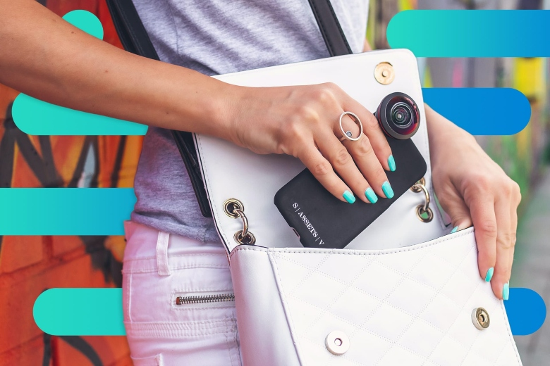 Photo of a young woman removing a smartphone from her purse, with Optimum graphic overlays - the phone has a custom case and wide-angle camera lens attachment