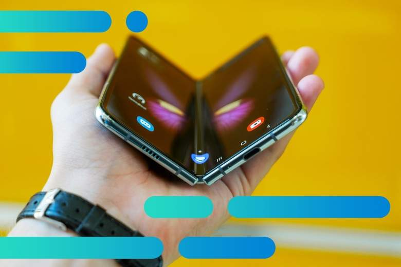 Photo of a hand holding a Samsung Fold phone, slightly folded like an open book lying face up in the palm, with Optimum graphic overlay