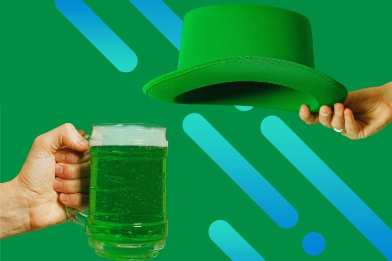 Photo of one hand holding a glass mug of green-dyed beer and another holding a green top hat in celebration of St. Patrick's Day, with Optimum graphic overlay