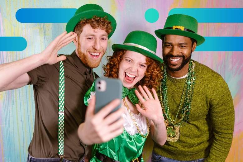 Photo of a diverse group of friends wearing green outfits and shamrocks posing for a St. Patrick's Day selfie, with Optimum graphic overlay