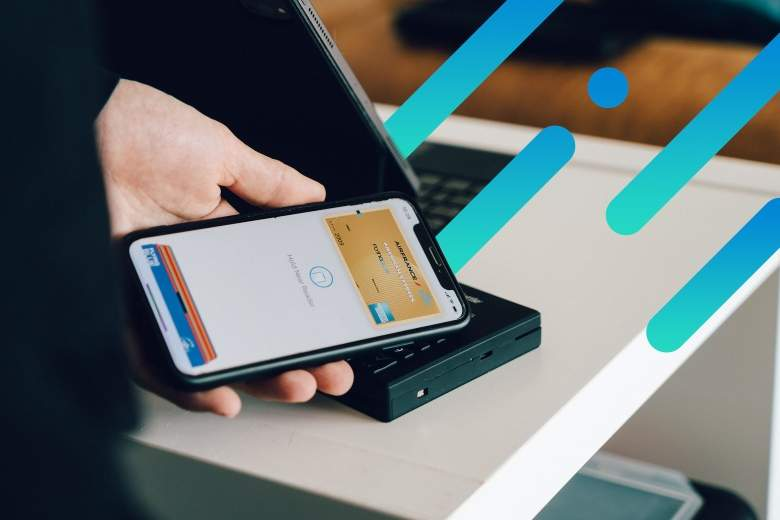 person using mobile pay on their phone to pay