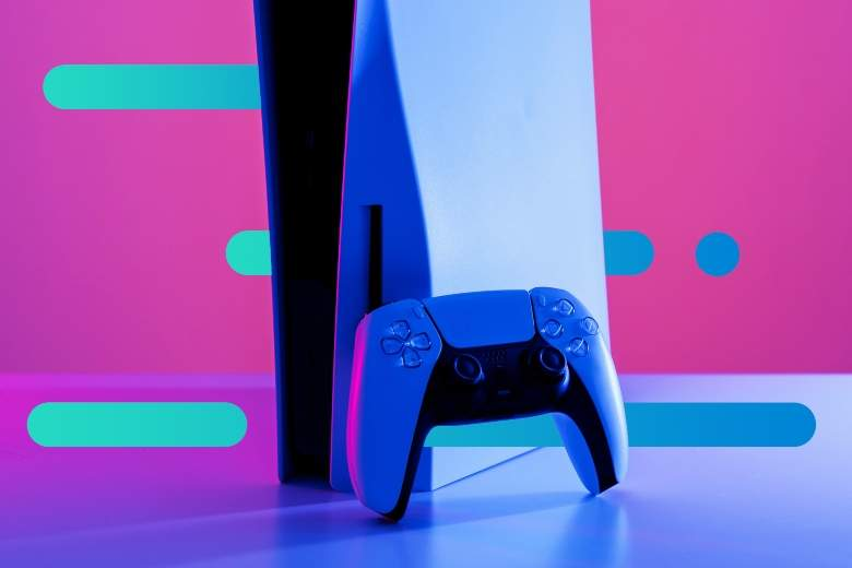 Play Station 5 with an abstract background