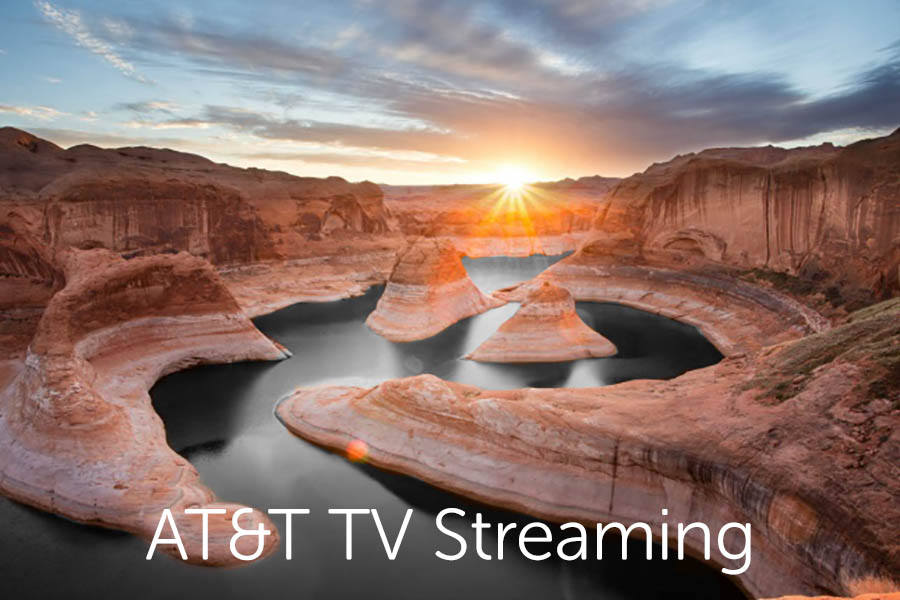 """Photo of stream in Arizona with white text overlay that reads """"AT&T TV Streaming."""""""