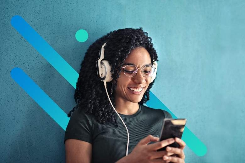 A young African American woman wearing headphones smiles at her smartphone, with a graphical overlay of Optimum blue gradient bars