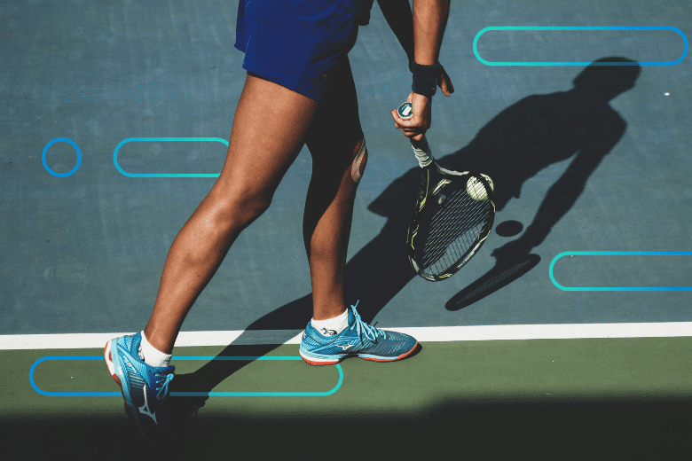 tennis player running up to serve with abstract background