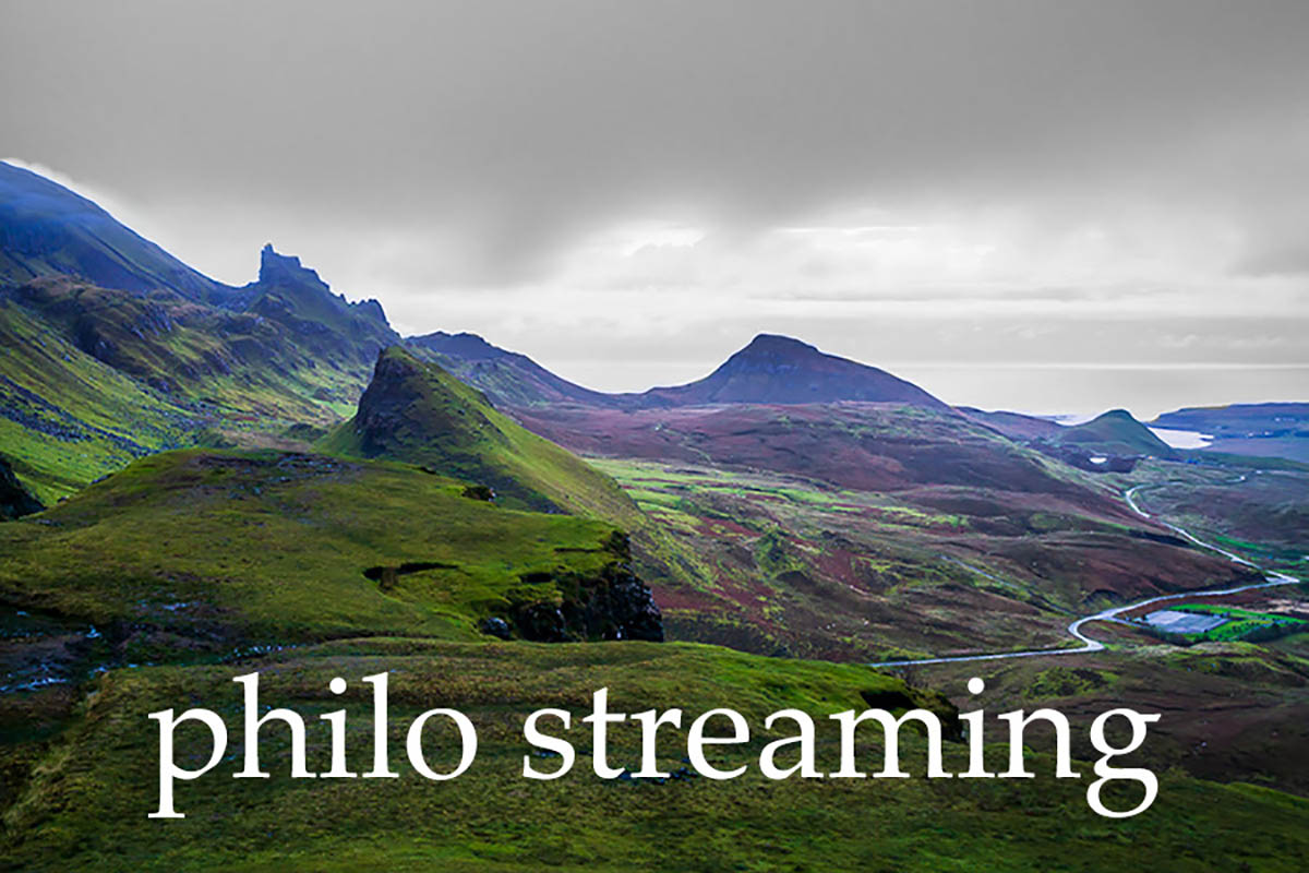 Mountains and stream with Philo Streaming white text overlay