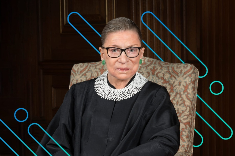 Ruth Bader Ginsburg sitting in front of an abstract background