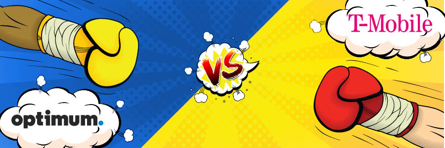Two boxing gloves with a blue and yellow background that includes the logos for both Suddenlink and T-Mobile