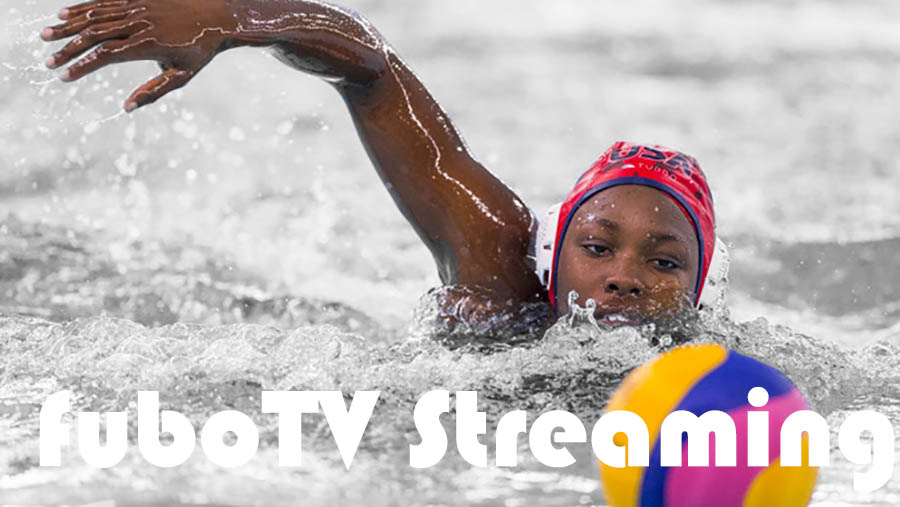 Olympic Swimmer with fuboTV Streaming overlay