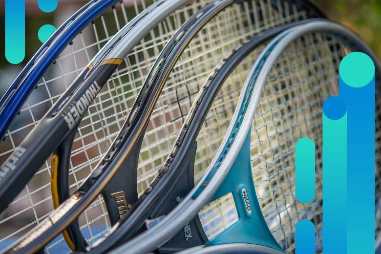 tennis racket with abstract background