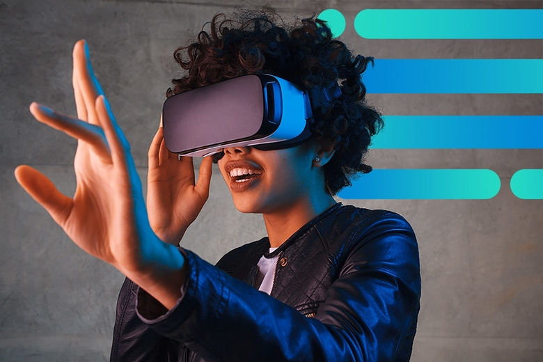 Woman in VR headset engaging with compelling experience on abstract background