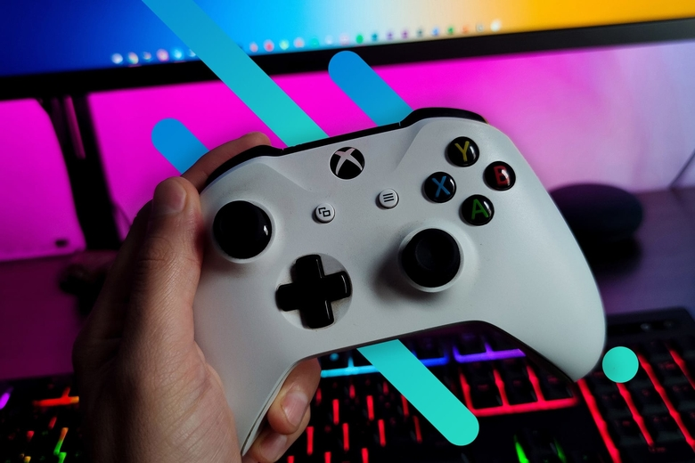 An Xbox Series X controller is displayed on a blue background with Optimum blue graphic overlays